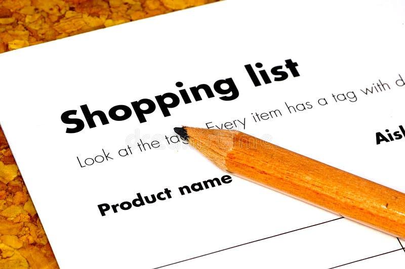 Lista de compras imagen de archivo