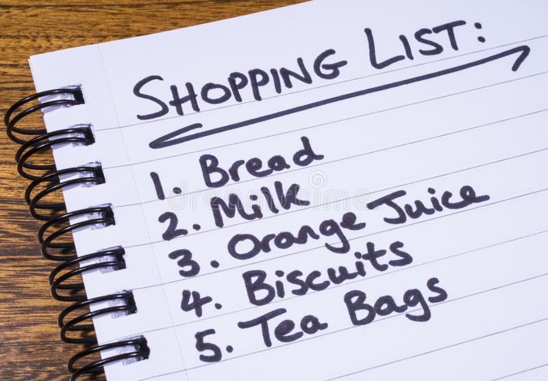 Lista de compras imagenes de archivo