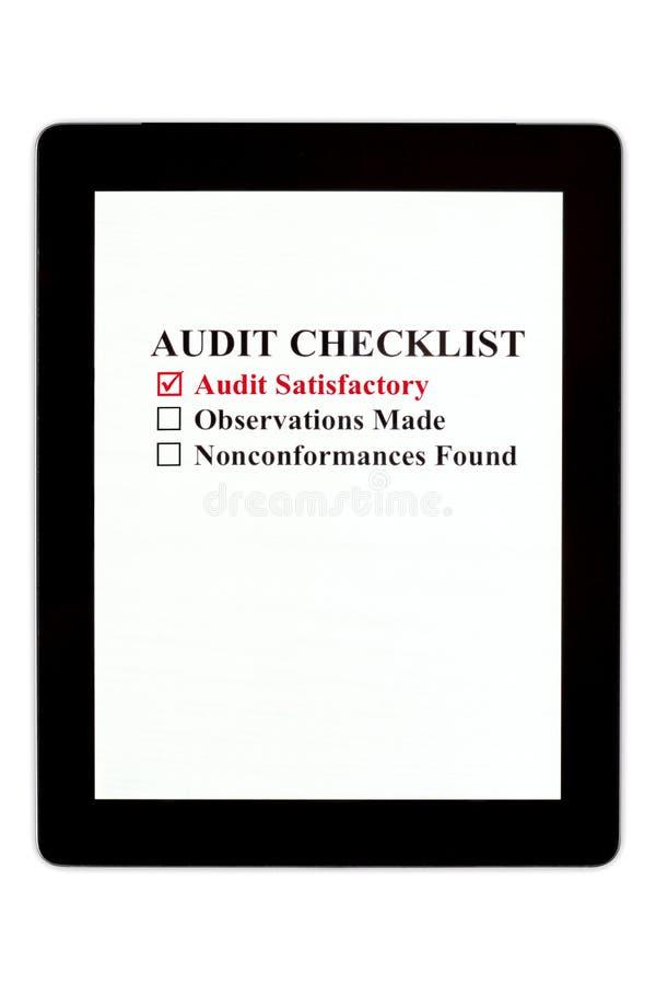 Lista de comprobación de la intervención en la tablilla de Digitaces foto de archivo libre de regalías