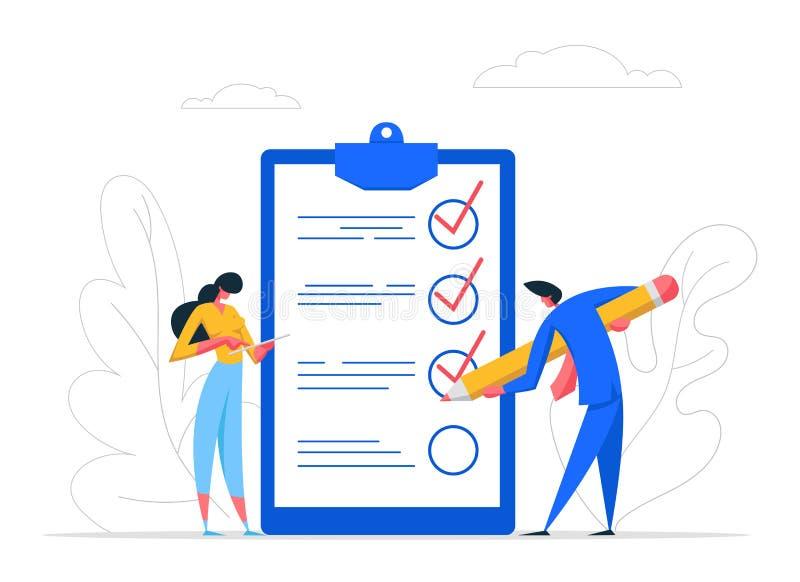 Lista de comprobación de marcas de caracteres para empresarios con pluma Tarea de trabajo de finalización de negocio de empresari libre illustration
