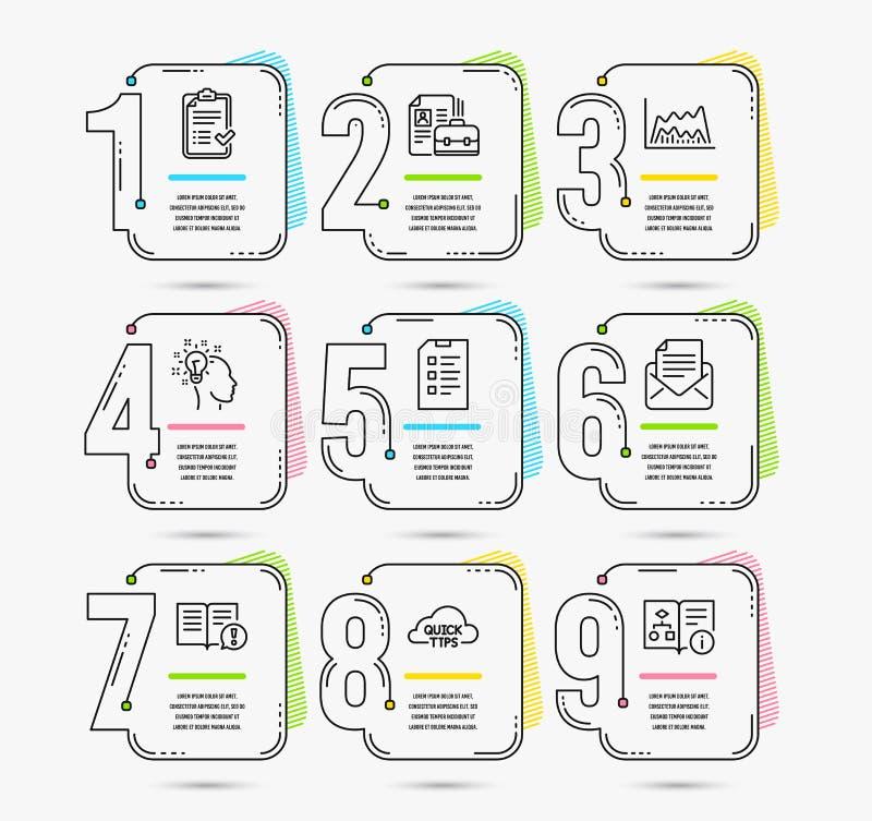 Lista de control aprobada, carta comercial e iconos de los hechos Muestras de la lista de control, de la idea y de la vacante Vec libre illustration