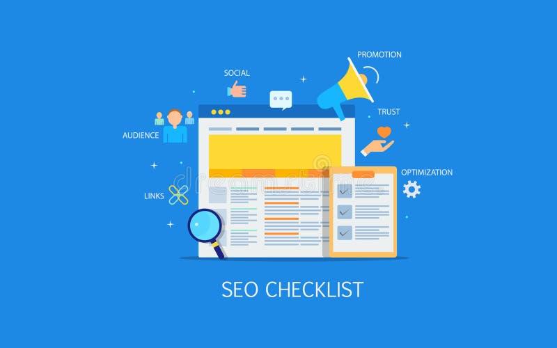 Lista de control de comercialización de Digitaces, seo, medio social, audiencia, promoción, vínculos, contenido, optimización ilustración del vector