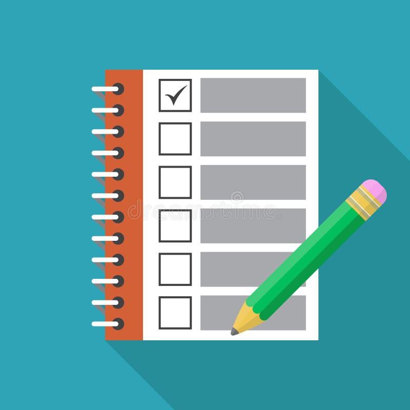 Lista de control con las marcas y el icono plano del lápiz Diseño de la plantilla para la educación, el negocio, el planeamiento  libre illustration