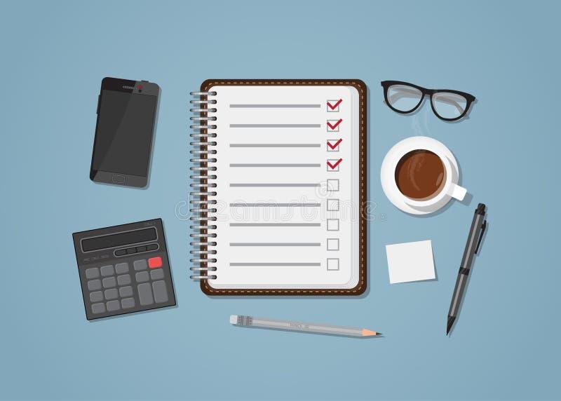 Lista de control con los artículos de la oficina ilustración del vector