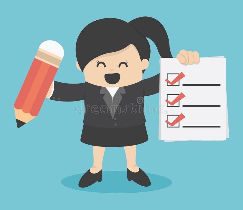 Lista de control de la mujer de negocios ilustración del vector