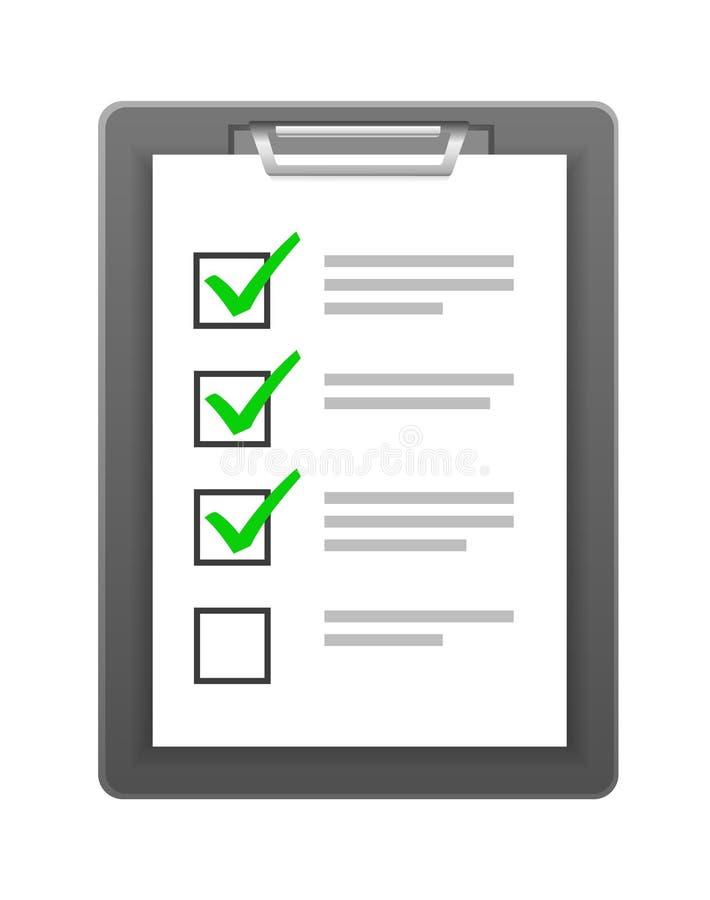 Lista de control en el tablero stock de ilustración
