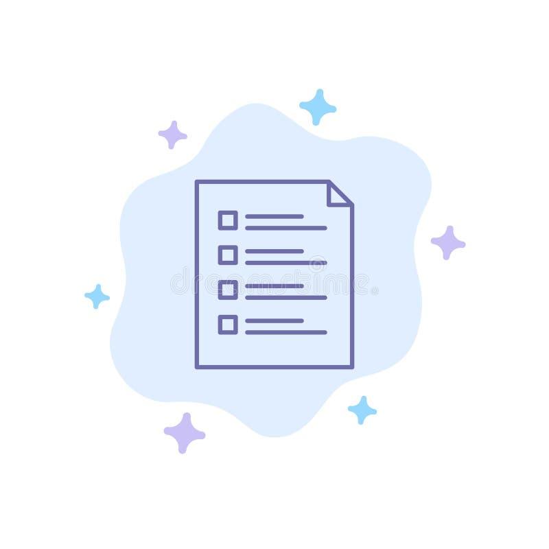 Lista de control, control, fichero, lista, página, tarea, icono azul de prueba en fondo abstracto de la nube libre illustration