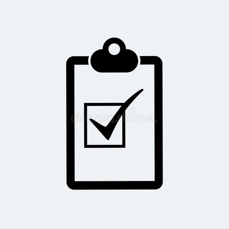 Lista de control - icono del vector Lista de control del tablero en diseño plano de moda stock de ilustración