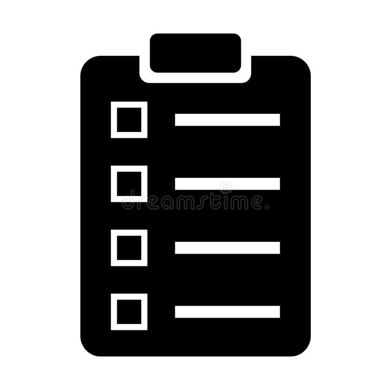 Lista de control/icono monocromáticos de la encuesta Aislado en blanco stock de ilustración