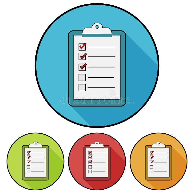Lista de control/icono simples, planos, circulares del tablero Cuatro variaciones del color Lanzamiento de una sombra libre illustration
