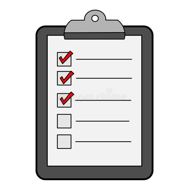 Lista de control/icono simples, planos, grises del tablero con las marcas de verificación rojas stock de ilustración
