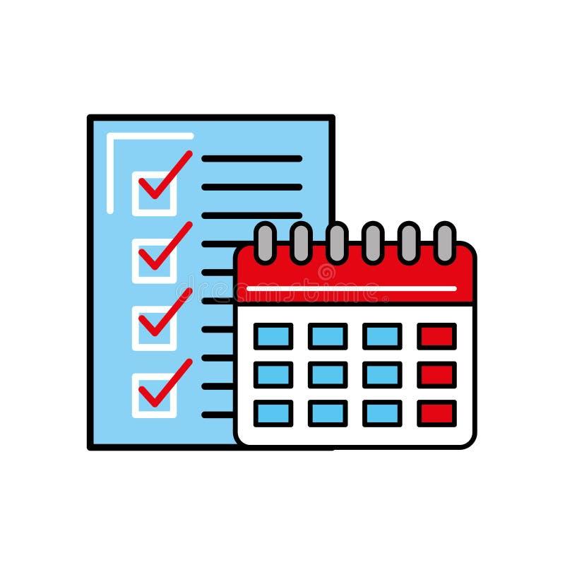 Lista de control logística en línea del calendario que hace compras ilustración del vector