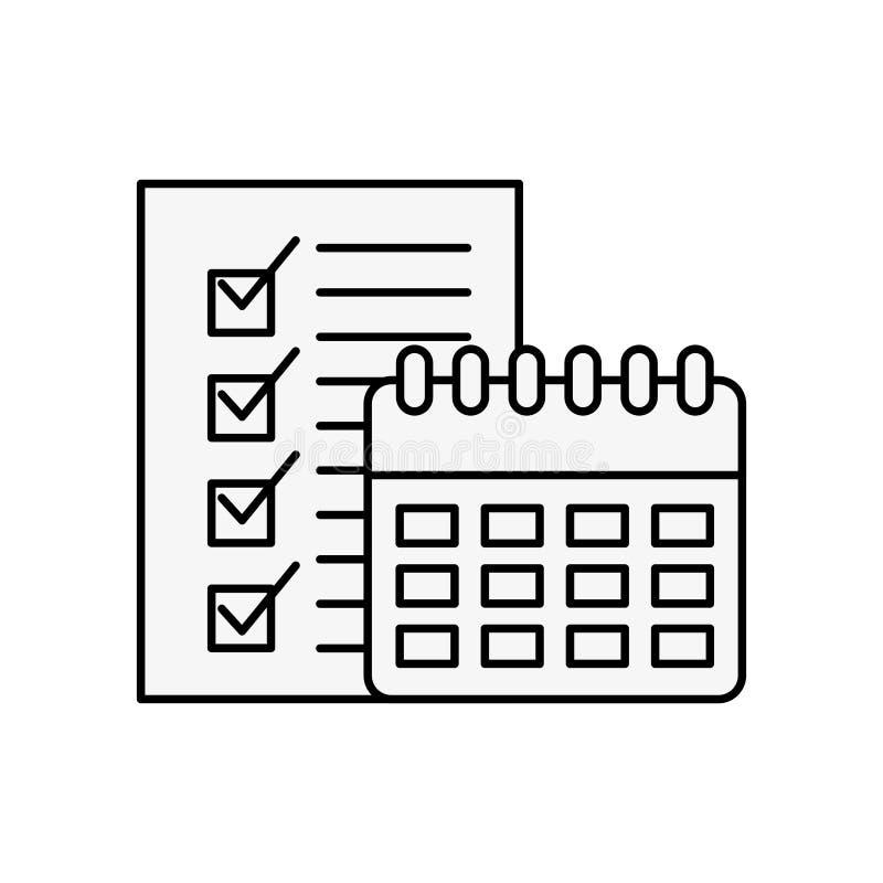 Lista de control logística en línea del calendario que hace compras stock de ilustración