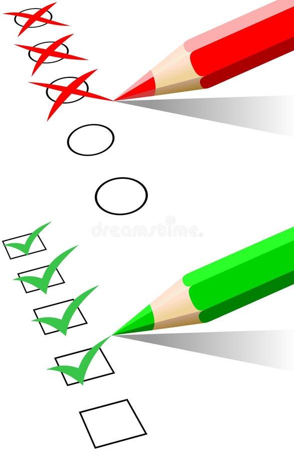 Lista de control y lápiz coloreado stock de ilustración