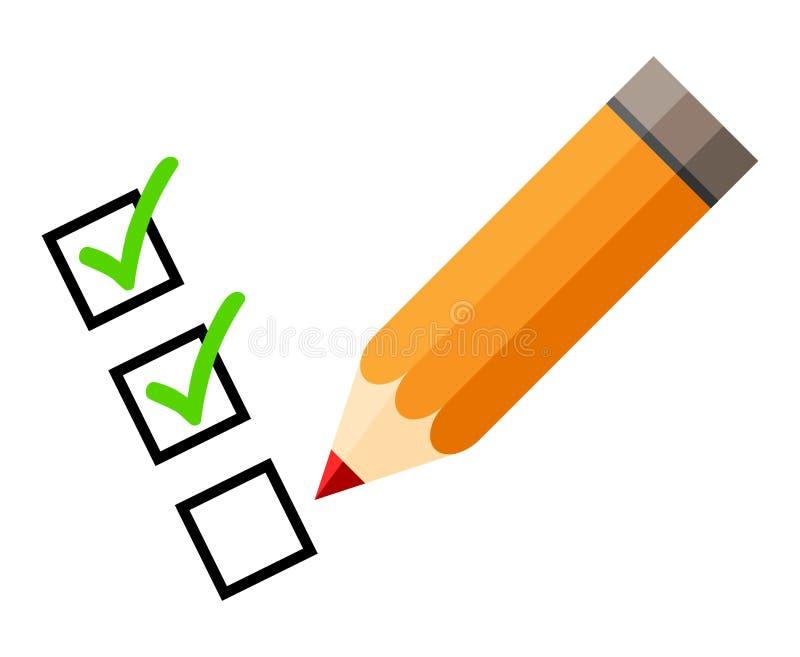 Lista de control y lápiz rojo Tick Icons Marca de verificación Aislado Fondo blanco ilustración del vector