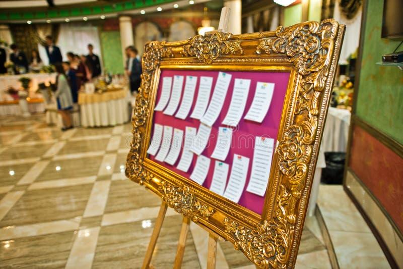 Lista de convidado no restaurante do casamento fotos de stock