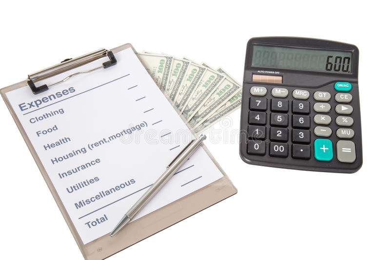 Lista de despesas comuns imagens de stock