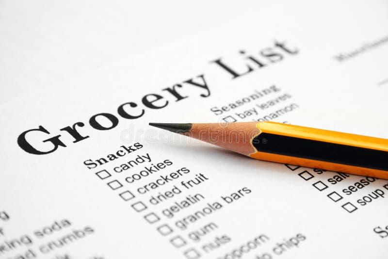 Lista de la tienda de comestibles - bocados fotos de archivo