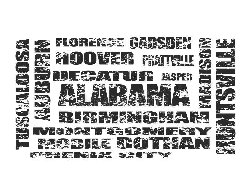 Lista de las ciudades del estado de Alaska ilustración del vector