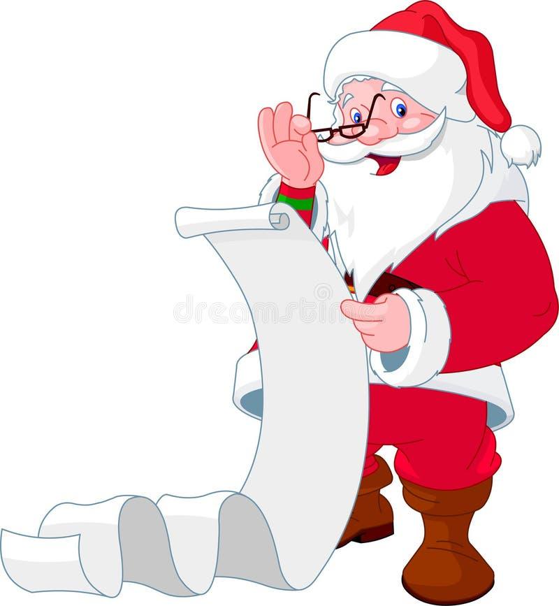 Lista de leitura de Papai Noel de presentes ilustração do vetor