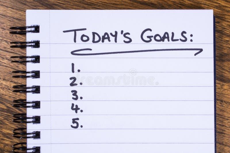 Lista de metas de hoy foto de archivo