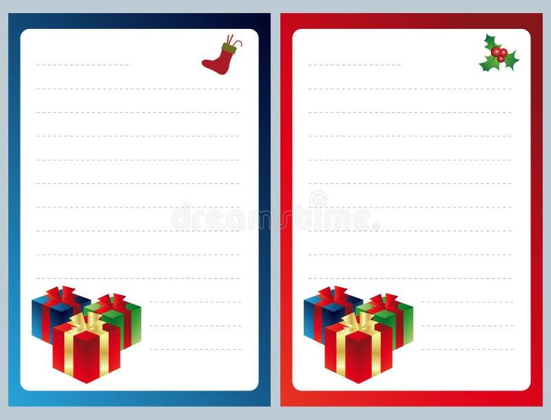 Lista de objectivos pretendidos do Natal ilustração stock