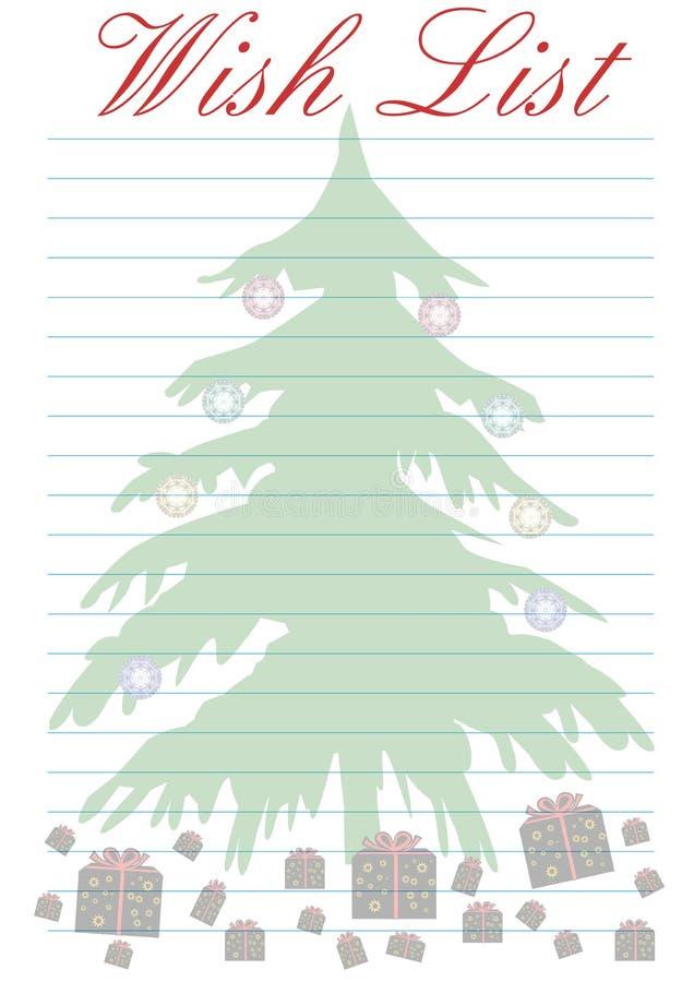 Lista de objectivos pretendidos - Natal ilustração do vetor