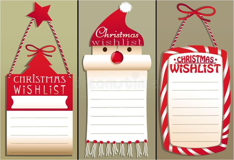 Lista de objetivos pretendidos do Natal ilustração stock