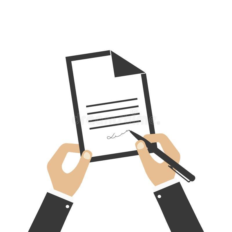 Lista de papel com pena em um fundo branco A pessoa está escrevendo a letra Ilustra??o do vetor ilustração stock