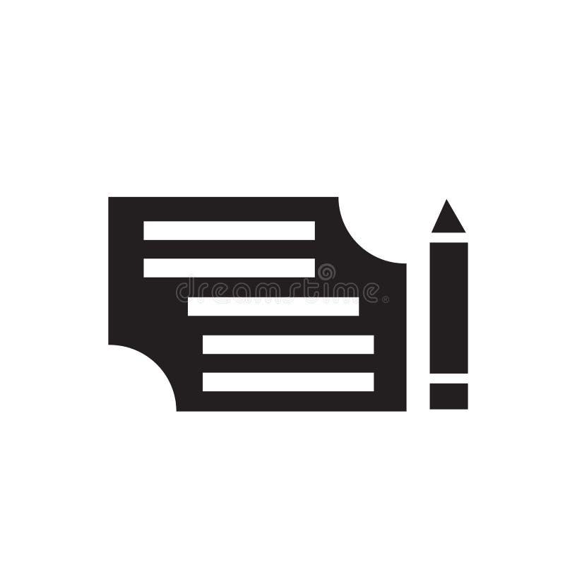 Lista de papel e um sinal e um símbolo do vetor do ícone do lápis isolados no fundo branco, na lista de papel e em um conceito do ilustração stock