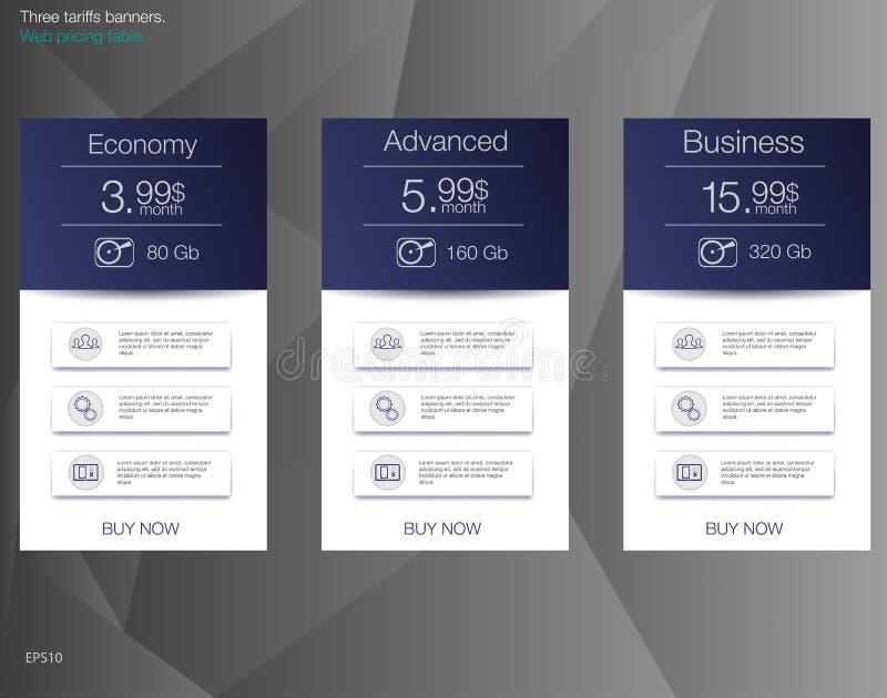 Lista de precios para recibir, bandera para las tarifas y listas de precios Elementos del Web stock de ilustración