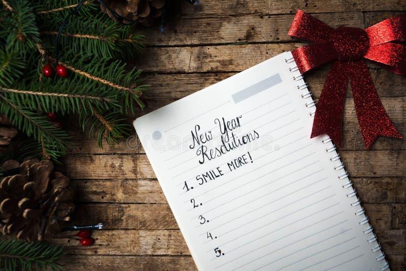 Lista de resoluciones del Año Nuevo imagen de archivo