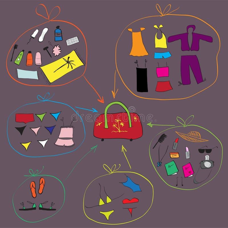Lista de roupa para o curso ilustração stock