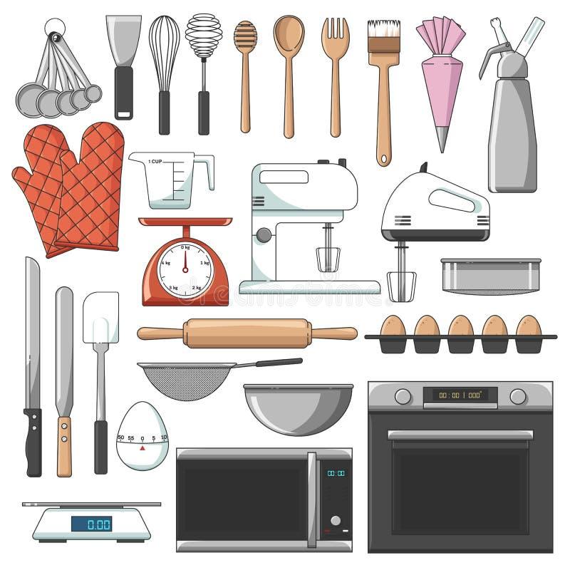 Lista de vector de las herramientas de la panadería/de paquete importantes del icono ilustración del vector