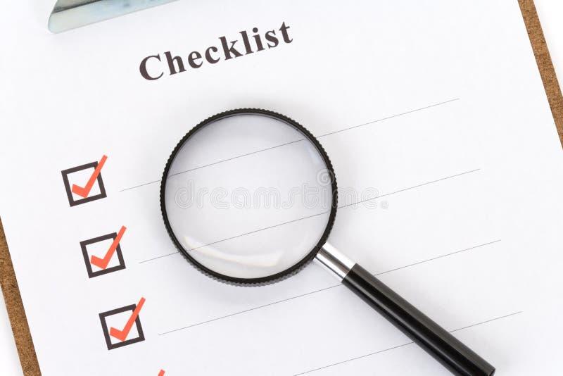 Lista de verificação imagens de stock