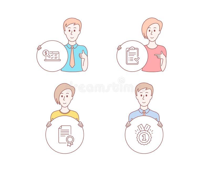 Lista de verificação aprovada, certificado e ícones explicando em linha Sinal aprovado Vetor ilustração do vetor