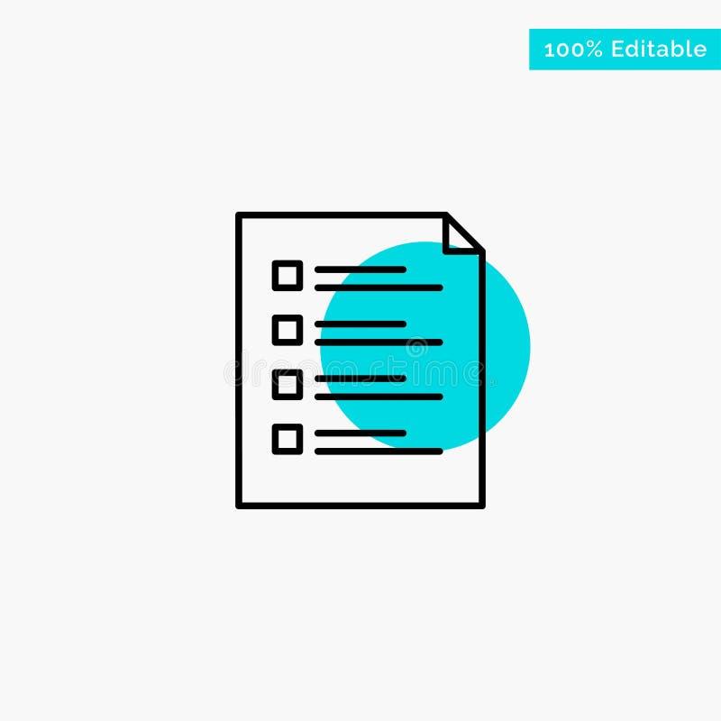 Lista de verificação, verificação, arquivo, lista, página, tarefa, ícone de teste do vetor do ponto do círculo do destaque de tur ilustração stock