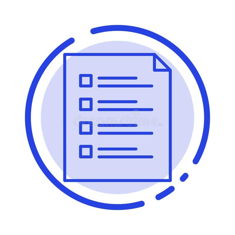 Lista de verificação, verificação, arquivo, lista, página, tarefa, linha pontilhada azul de teste linha ícone ilustração stock