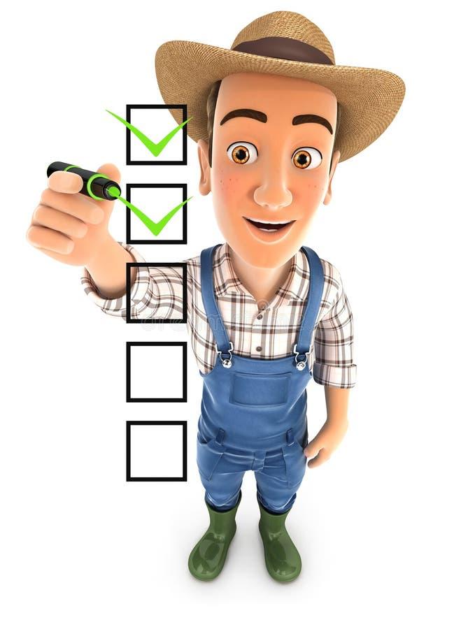 Lista de verificação do agricultor 3d com caneta ilustração stock
