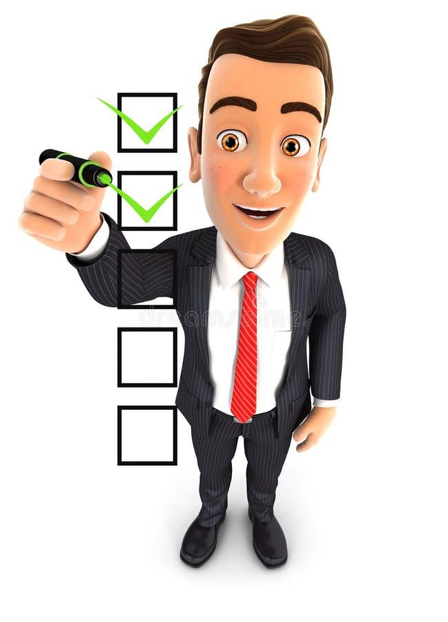 lista de verificação do homem de negócios 3d ilustração royalty free