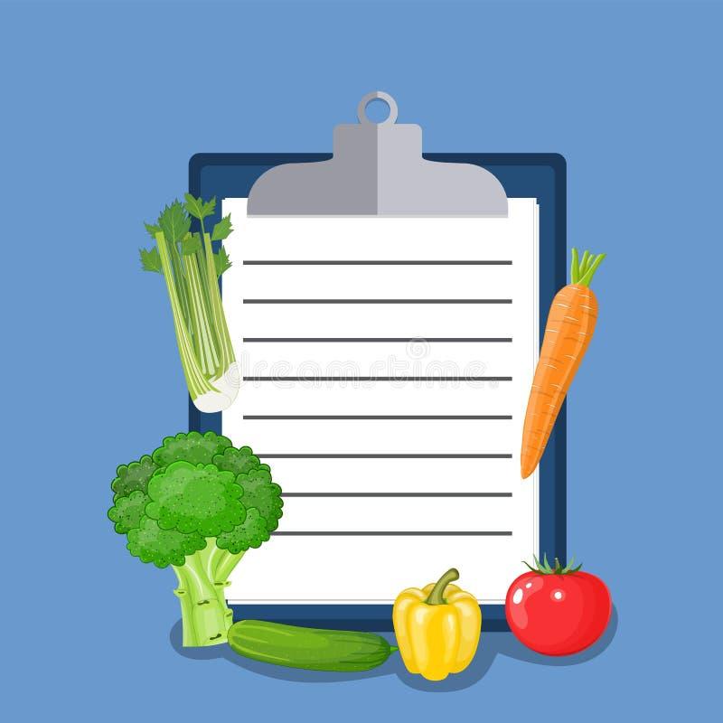 Lista de verificação do plano da dieta do vegetariano ilustração stock