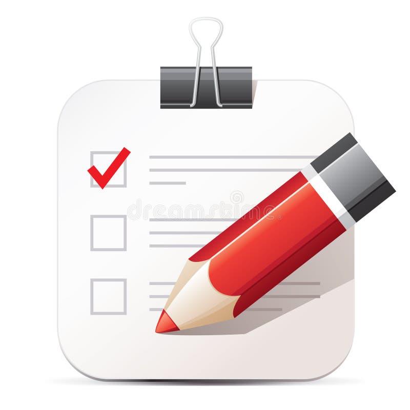 Lista de verificação e lápis ilustração royalty free