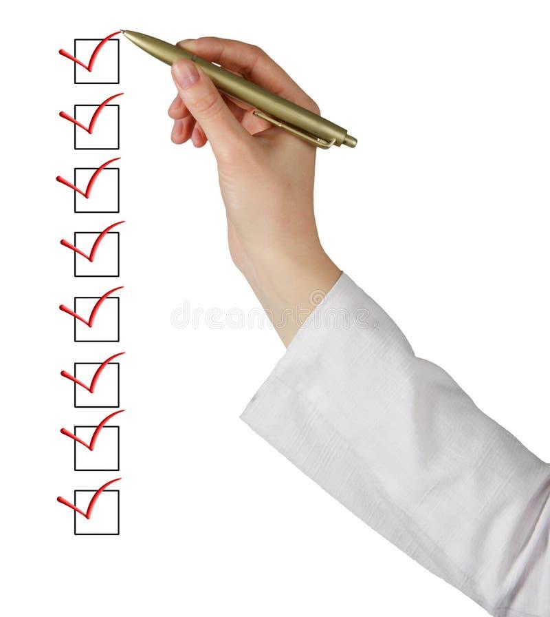 Lista de verificação de enchimento fotos de stock