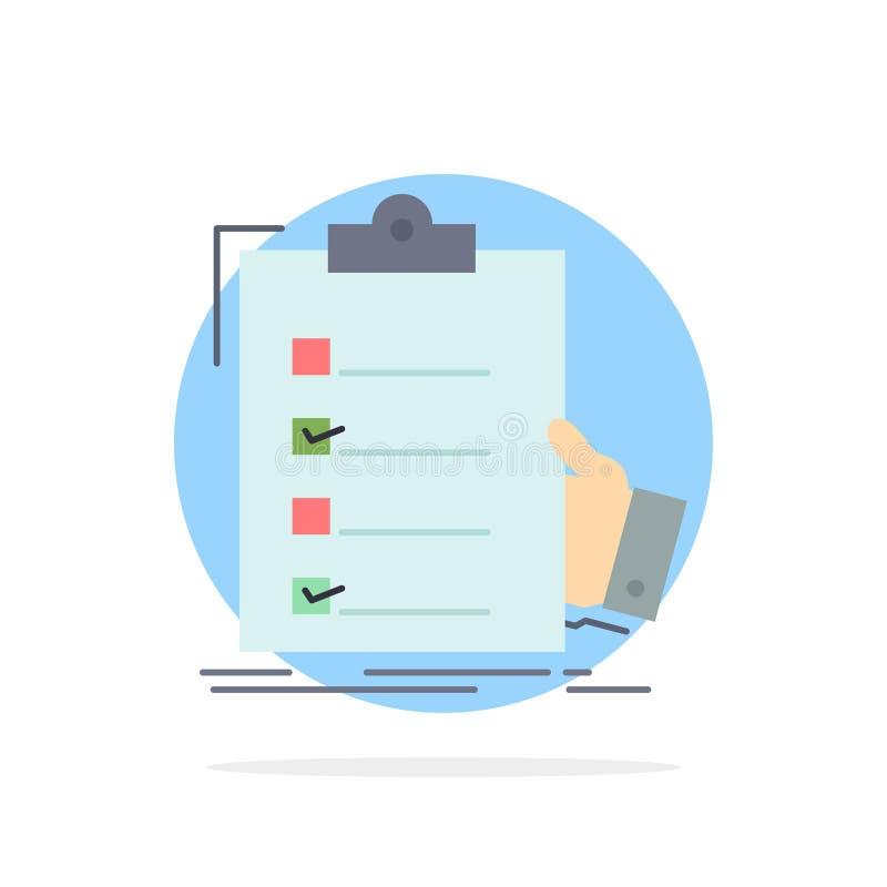lista de verificação, verificação, experiência, lista, vetor liso do ícone da cor da prancheta ilustração do vetor