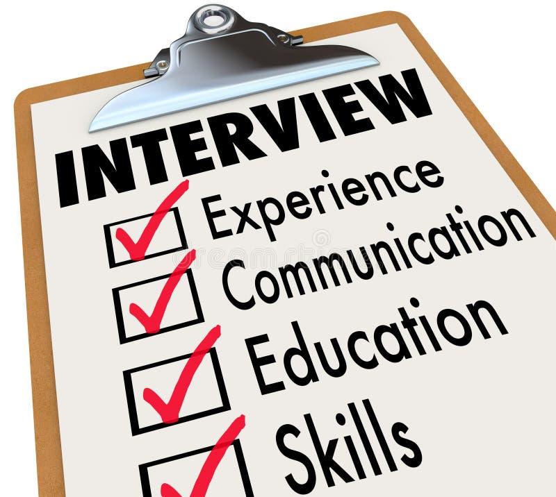Lista de verificação Job Candidate Requirements da entrevista
