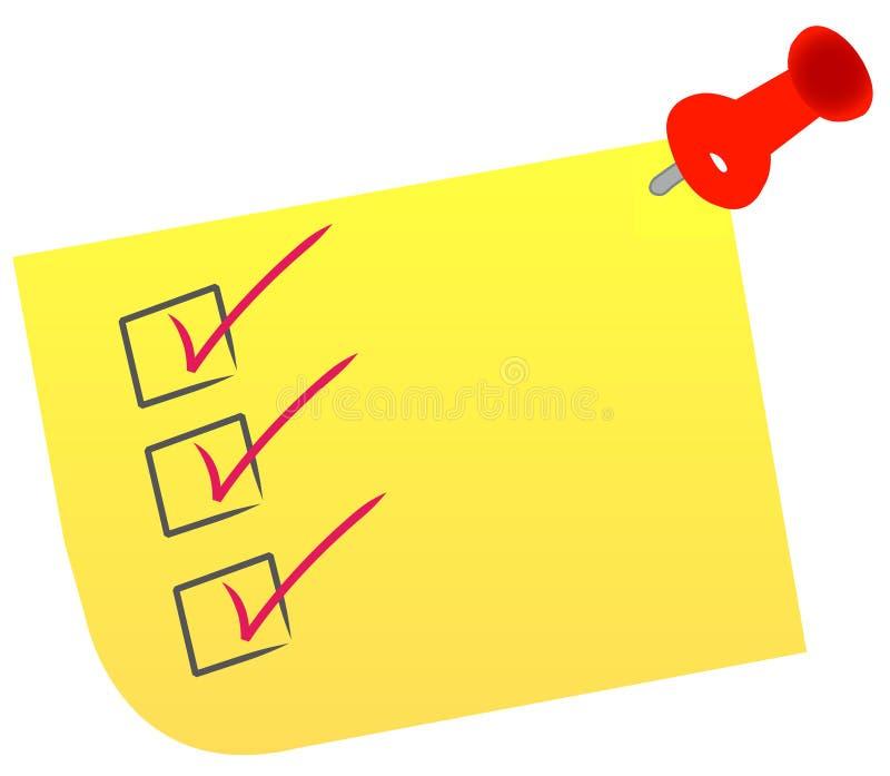 Lista de verificação na nota ilustração stock