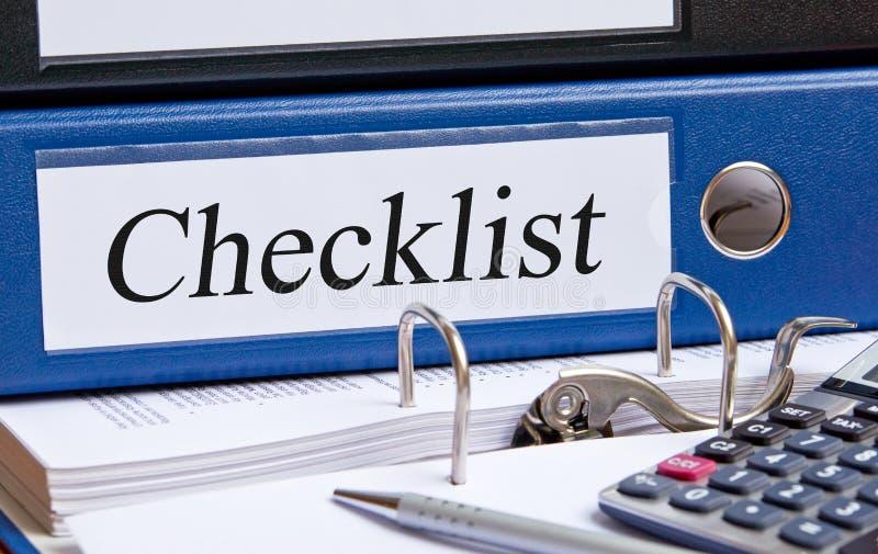Lista de verificação - pasta azul com texto fotografia de stock royalty free