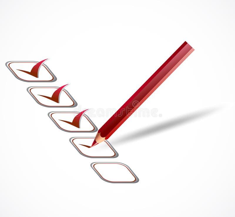 Lista de verificação vermelha. Vetor ilustração do vetor