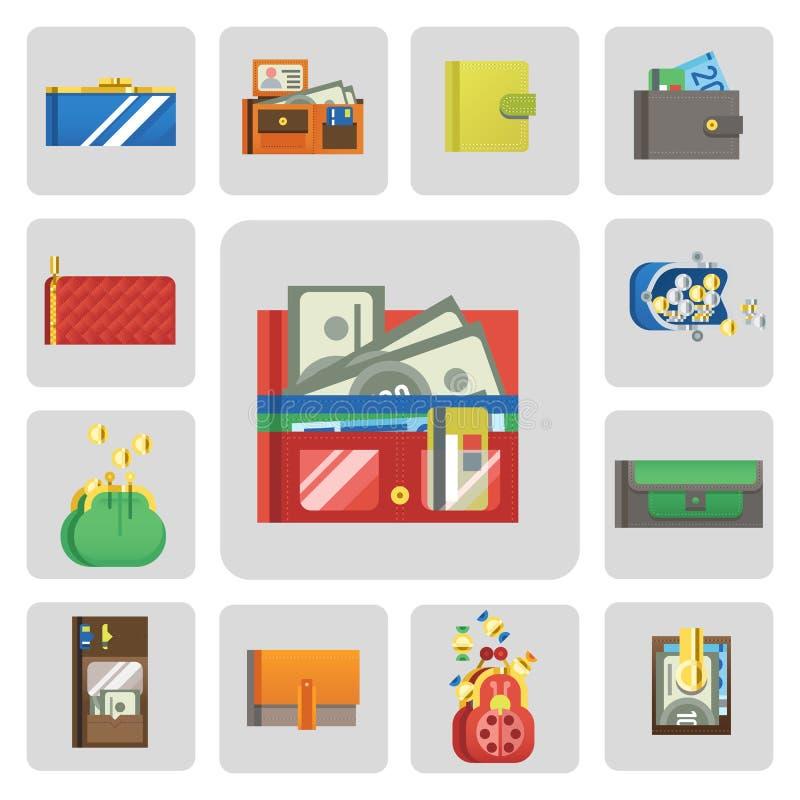 Lista de verificación del icono de la cartera del dinero plano que hace el pago de las finanzas de la moneda del negocio de efect libre illustration