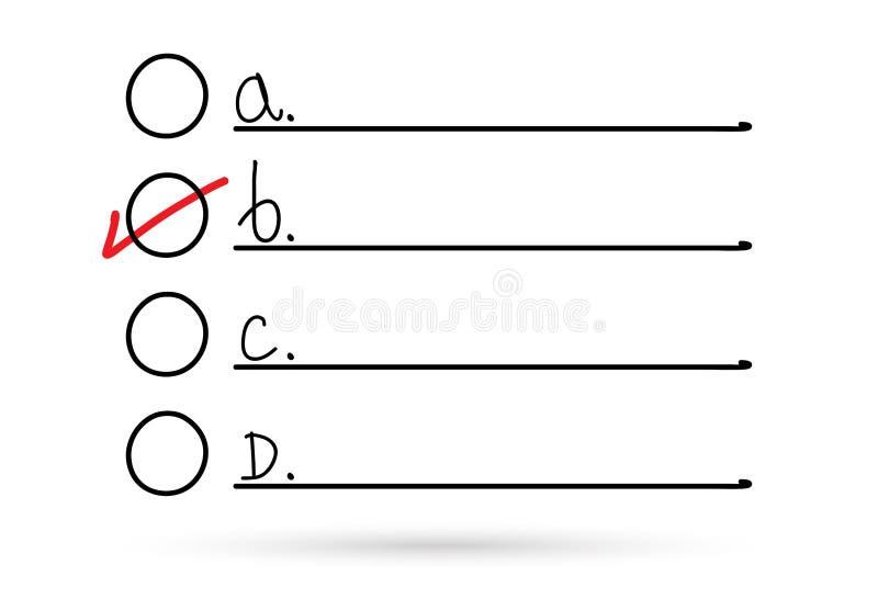 Lista de verificaci?n de dibujo popular y marca correcta del s?mbolo de la opci?n aislada ilustración del vector